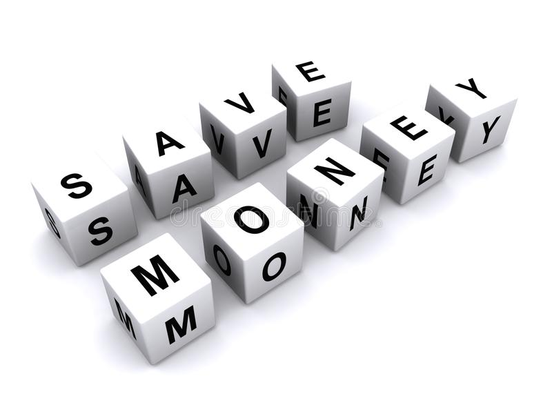 Save money message. A message ' save money ' created by using black upper case letters on small white cubes isolated on a white background stock photo