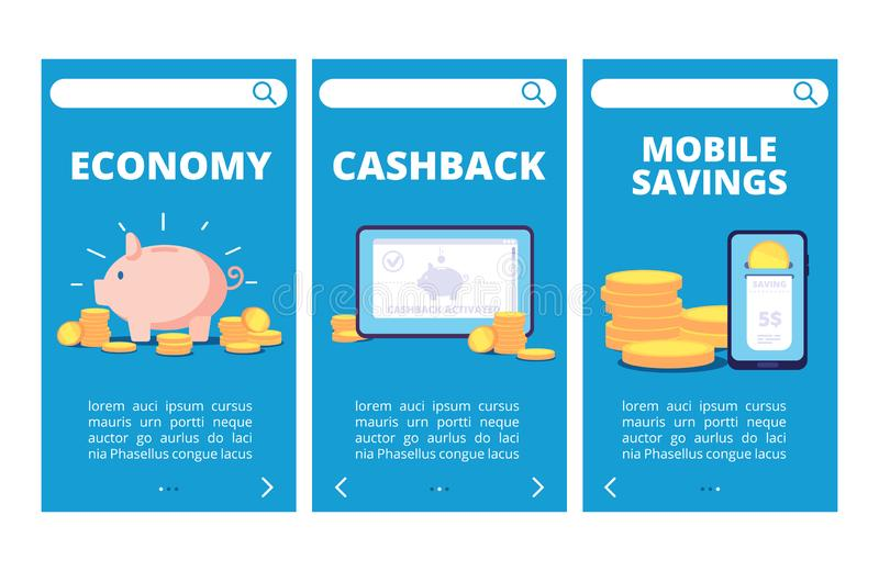 Save money mobile app pages. Banking and savings vector banners stock illustration