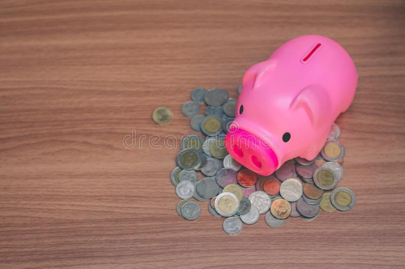 Save money in pig pink for future use. Save money in pig pink for future use, Concept saving money for the future stock images