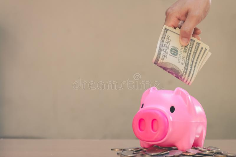 Save money in pig pink for future use. Save money in pig pink for future use, Concept saving money for the future royalty free stock image