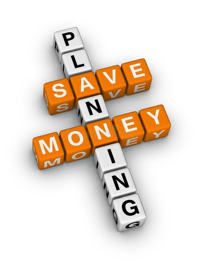 Save money planning. Crossword puzzle vector illustration