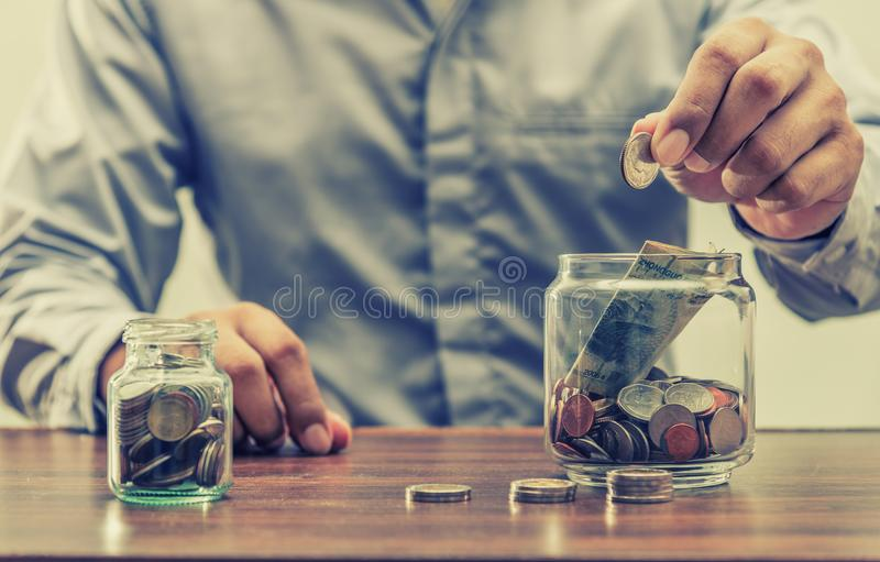Save money for retirement for finance business concept. Save money for retirement and account banking for finance concept vintage style stock image