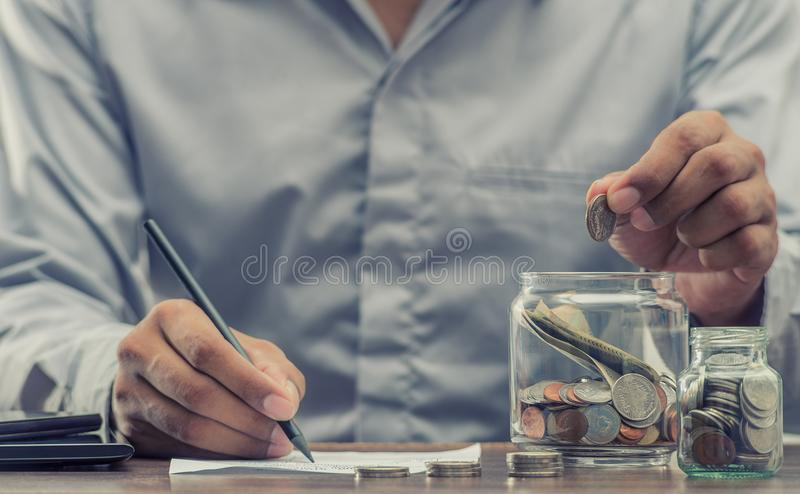Save money for retirement for finance business concept. Save money for retirement and account banking for finance concept royalty free stock images