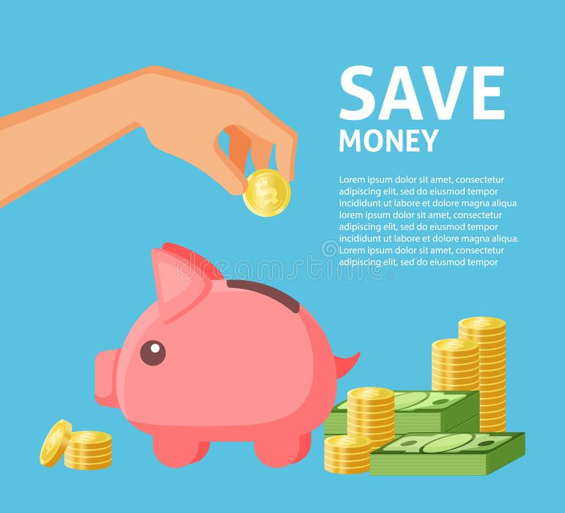 Save Money Piggy Poster Stock Vector. Illustration Of