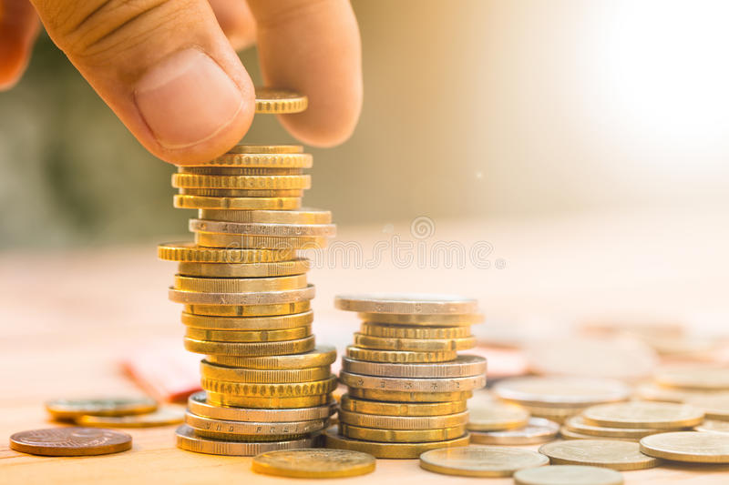 Save money with stack money coin. For growing your business royalty free stock image