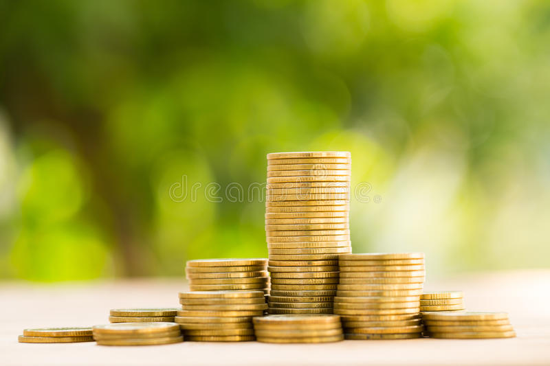 Save money with stack money coin. For growing your business royalty free stock photos