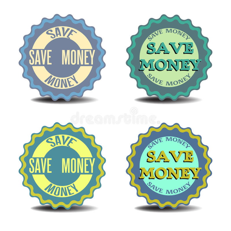 Save money stickers. Four stickers with the text save money written on each sticker vector illustration