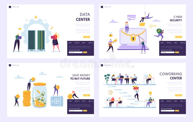 Save Money to Buy Future Landing Page Set. Data Center and Cyber Security Protect Private Information. Coworking Center. Alternative Place for Work Website or stock illustration