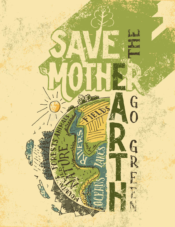 Save the Mother Earth concept eco poster royalty free illustration