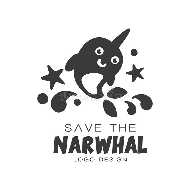 Save the narwhal logo design, protection of wild animal black and white sign vector Illustrations on a white background. Save the narwhal logo design, protection royalty free illustration
