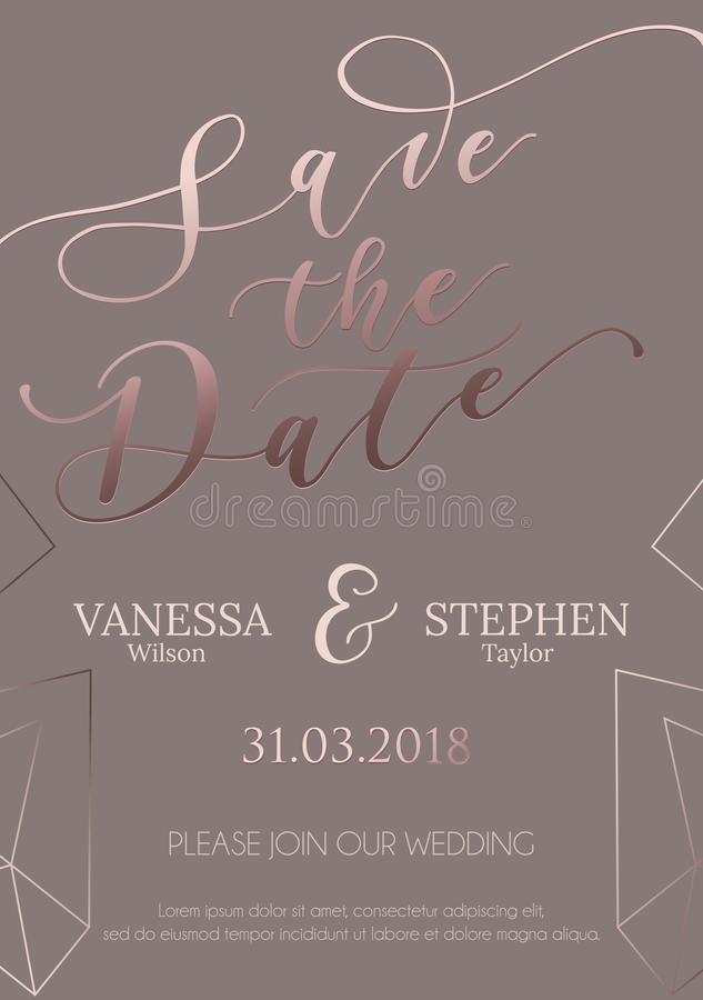 Save nasz daktylowego ślubnego zaproszenie projekt Elegancja szablon dla e ilustracja wektor