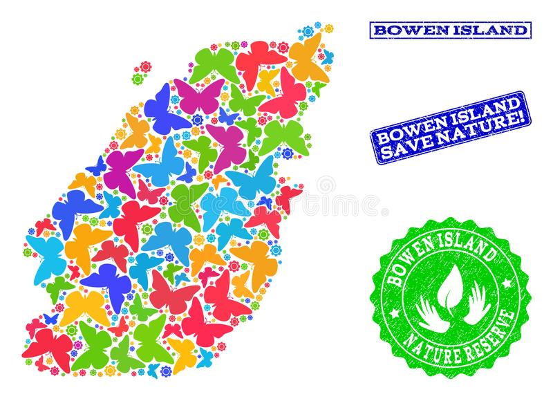Save Nature Collage of Map of Bowen Island with Butterflies and Distress Stamps. Ecological combination of bright mosaic map of Bowen Island and grunge seals vector illustration