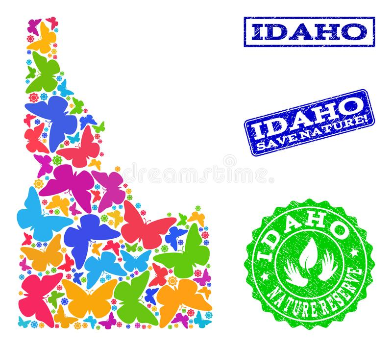 Save Nature Composition of Map of Idaho State with Butterflies and Distress Watermarks. Eco friendly combination of bright mosaic map of Idaho State and rubber stock illustration