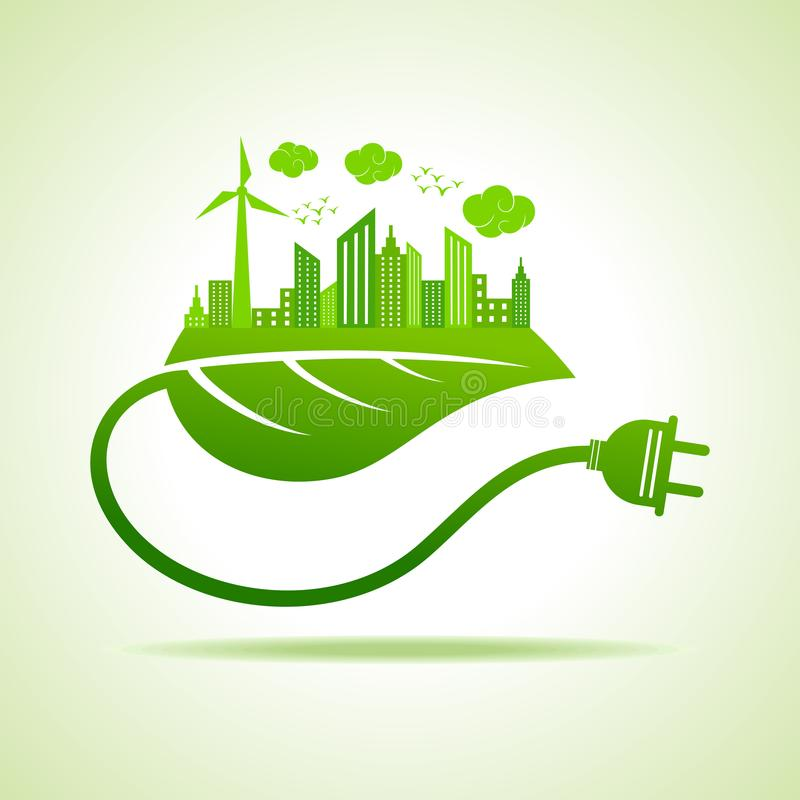 Save Nature and ecology concept with eco cityscape royalty free illustration