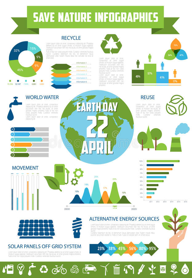 Save nature infographic for Earth Day design royalty free illustration