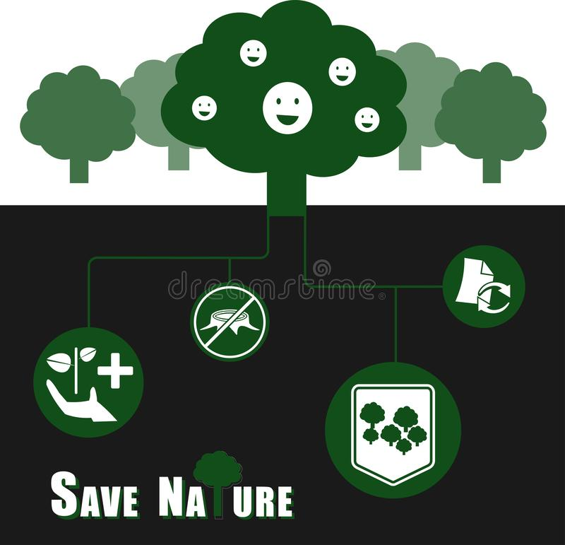 Save nature vector illustration infographic concept stock illustration