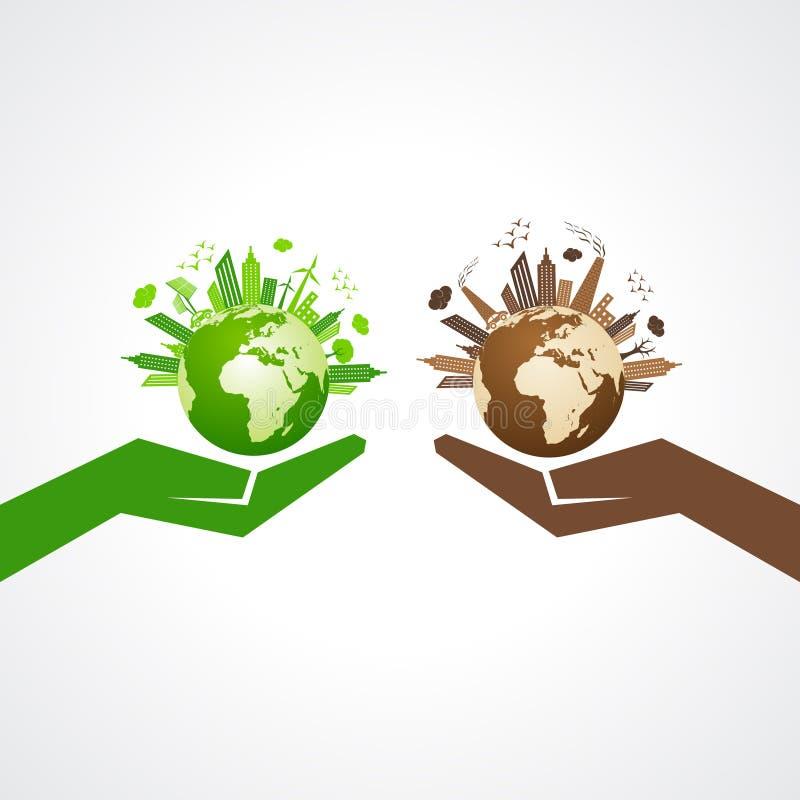 Save natury pojęcie z eco i zanieczyszczającym pejzażem miejskim ilustracja wektor