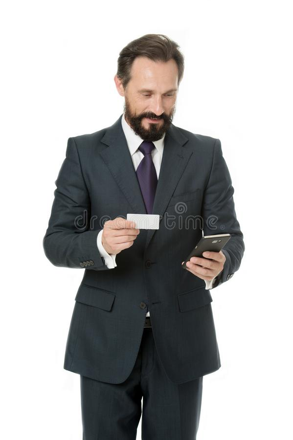 Save this number phone memory. Businessman carries business card. Feel free to call me anytime. Businessman hold plastic royalty free stock photos