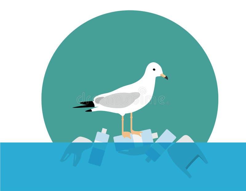 Save ocean, Stop Plastic Pollution, seagull stand on plastic bottle stock illustration
