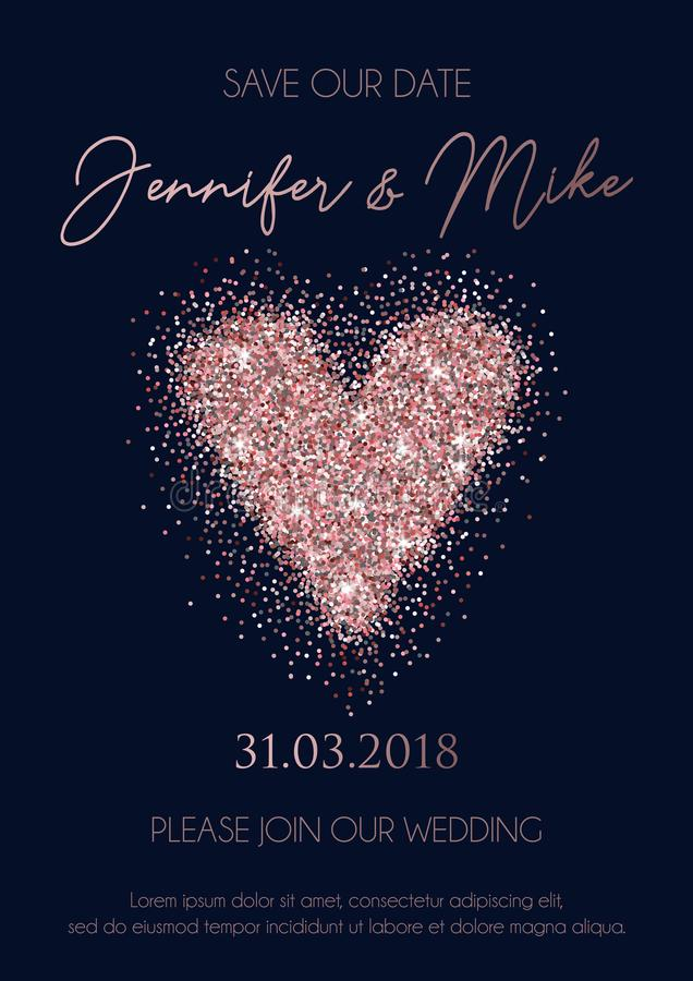 Save our date wedding invitation design. Elegance template for engagement or wedding with blue glitter heart and navy blue backgro stock illustration