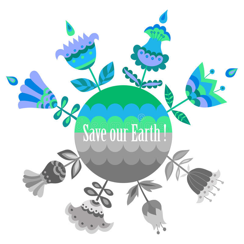 Free Save Our Earth Blue And Green Poster Template. Royalty Free Stock Photo - 64495705