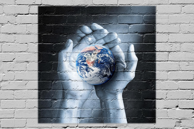 Earth Graffiti Love Sustainability Hope Mindfulness. A conceptual image to do with hope, love, sustainability, spirituality, and the future stock photography