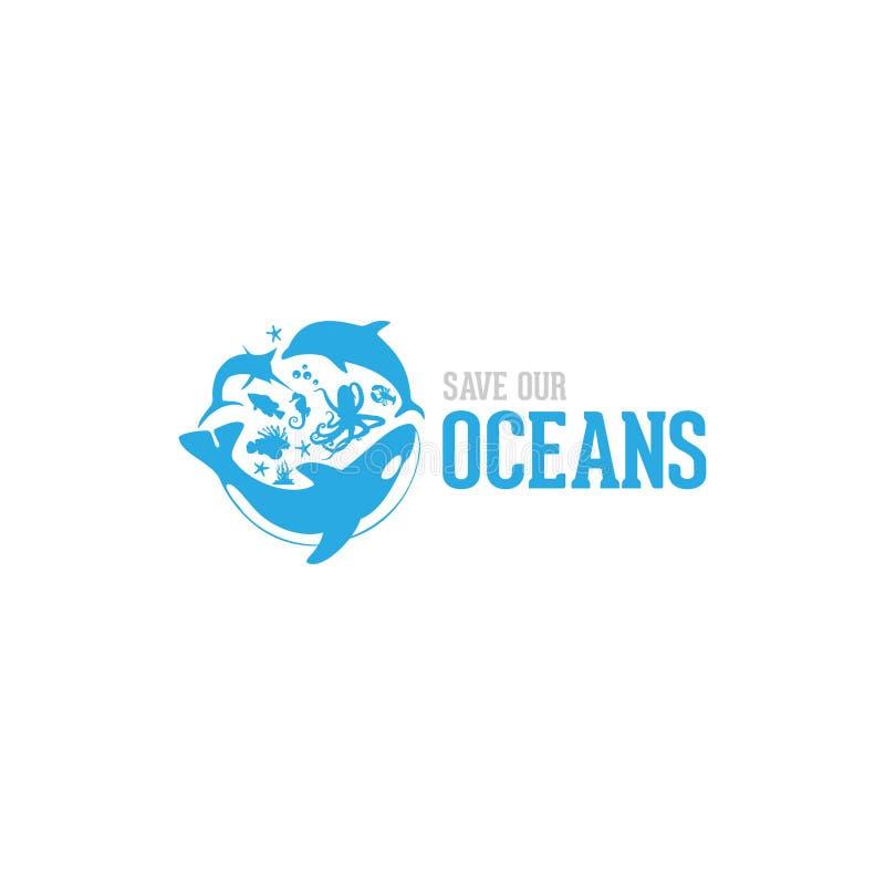 Save our ocean style design logo illustration vector illustration