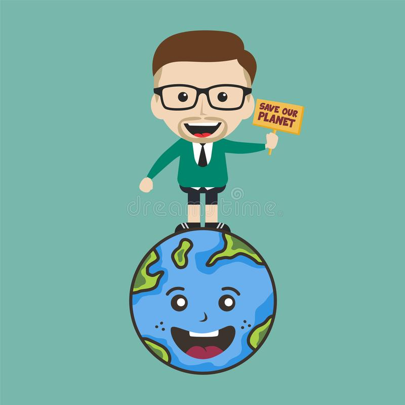 save our planet earth campaign male guy holding sign theme royalty free stock image