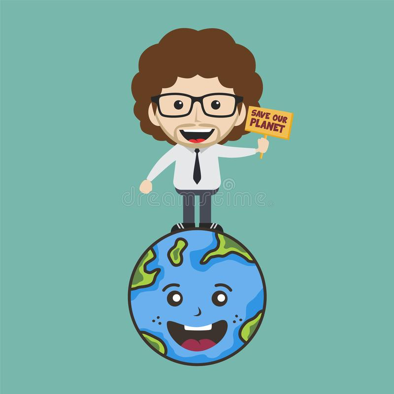 save our planet earth campaign male guy holding sign theme stock photography