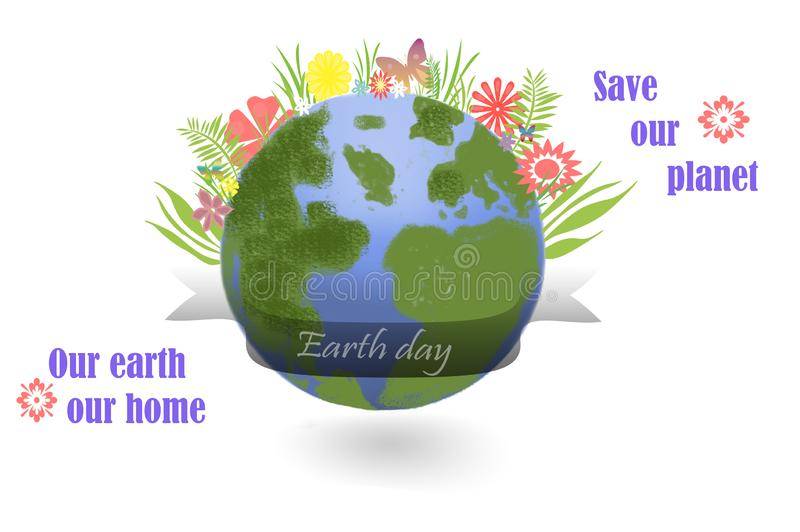 Save our planet - earth globe with leaves and flowers on white vector illustration