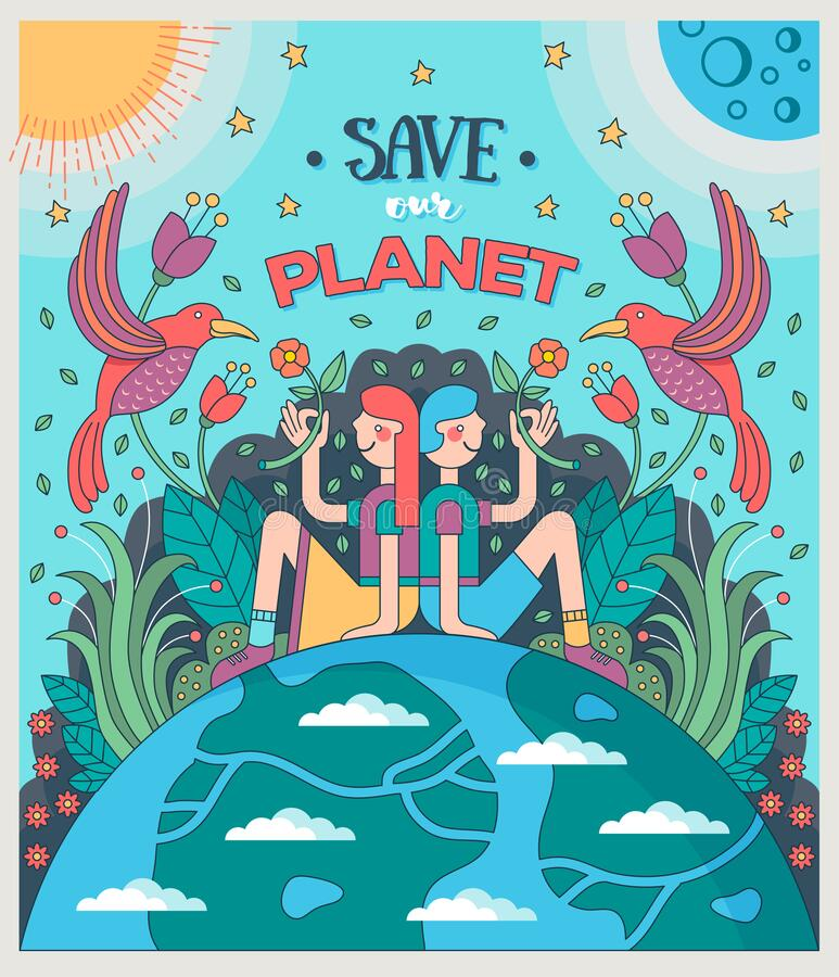Free Save Our Planet. Girl And Boy Sitting On Earth Offering Flowers To Birds, Surrounded By Plants, Sun And Moon. Royalty Free Stock Photos - 172160798