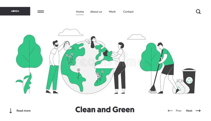 Save Our Planet Website Landing Page. People Prepare for Day of Earth Care of Plants, Sweeping Ground, Clean Trash stock illustration