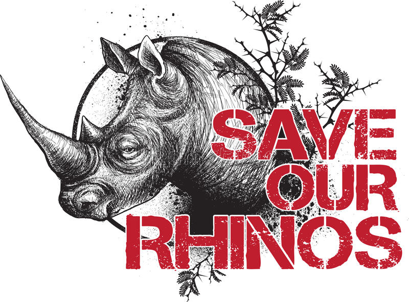 Save our Rhinos royalty free illustration