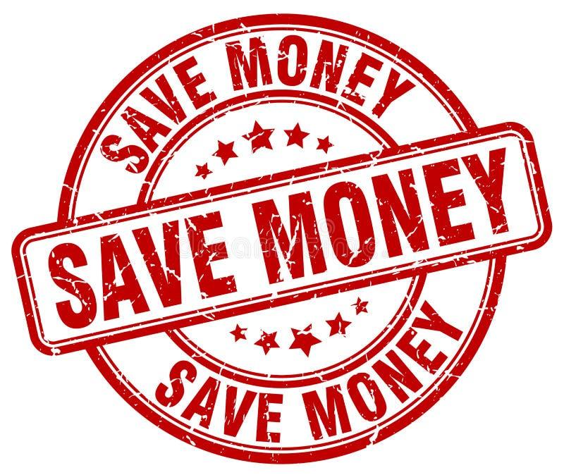 Save pieniądze czerwonego grunge rocznika round znaczek ilustracja wektor