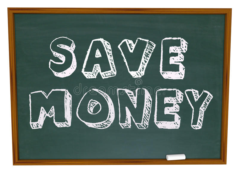 Save pieniędzy słowa na Chalkboard edukaci Savings royalty ilustracja