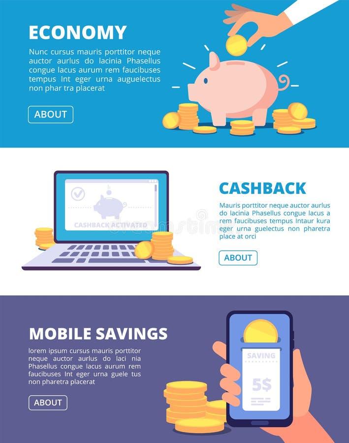 Save pieniędzy sztandary Finanse, rynek papierów wartościowych i biznesowy inwestować, Bankowość i savings wektoru pojęcie royalty ilustracja
