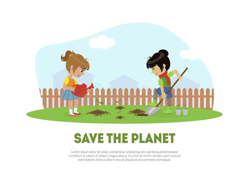 Save the Planet Banner Template with Cute Girl and Boy Volunteers Planting Tree in Garden Vector Illustration stock illustration