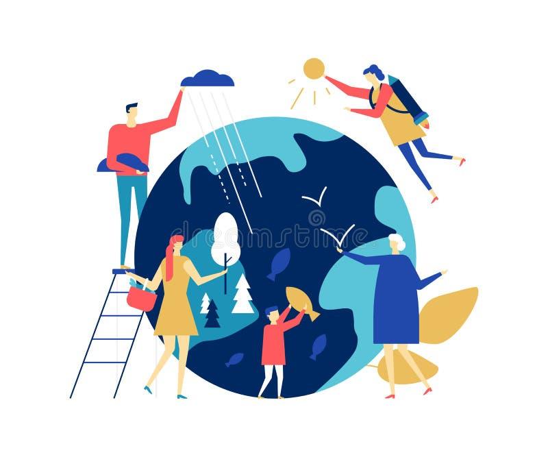 Save the planet - colorful flat design style illustration stock illustration