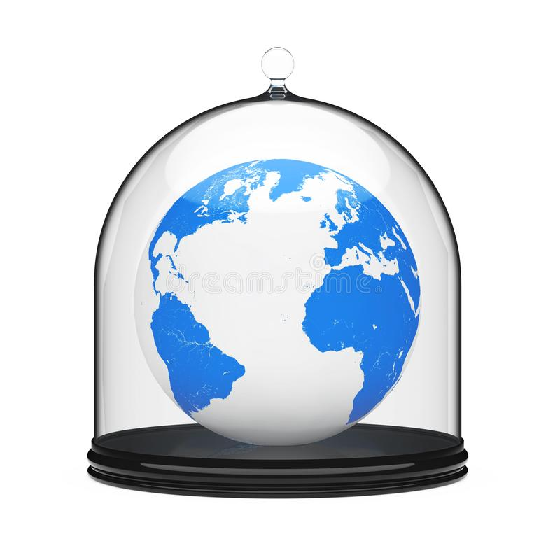 Save the Planet Concept. Earth Globe in Glass Bell Shield. 3d Re royalty free illustration