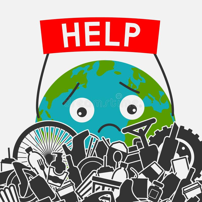 Save the planet concept. Littering planet with human waste. Planet earth asks for help to clear it of garbage vector illustration