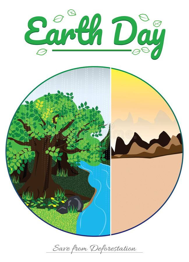 Earth day, trees, desert, mountain, water, deforestation, sun, river, raining, sand. Save the planet from deforestation, preserve trees, water, rain. Many forest royalty free illustration