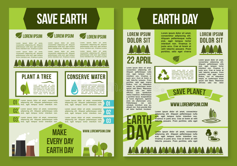 Save Planet And Earth Day Poster Template Set Stock Vector