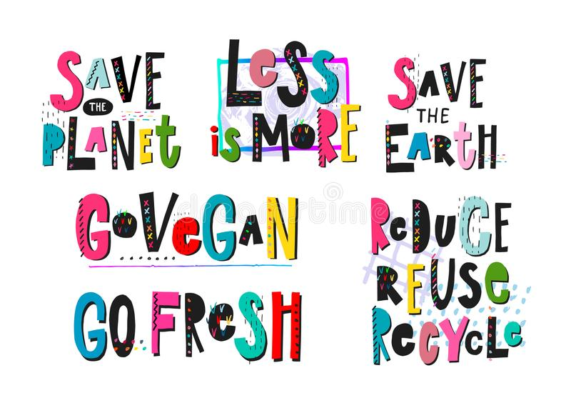 Save Planet Go Vegan recycle print quote lettering royalty free illustration