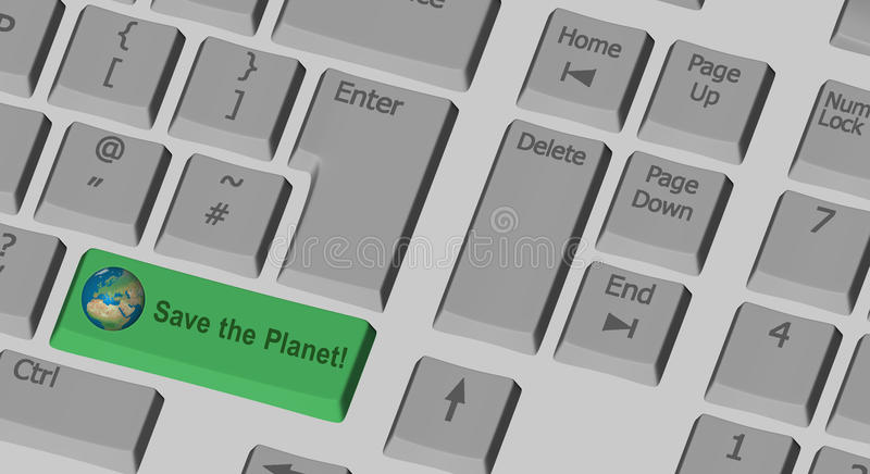 Save the Planet text on the computer keyboard royalty free illustration