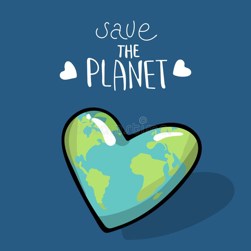 Save the planet. Vector illustration on blue background. A earth globe. Lettering. logo. Concept of energy saving and vector illustration