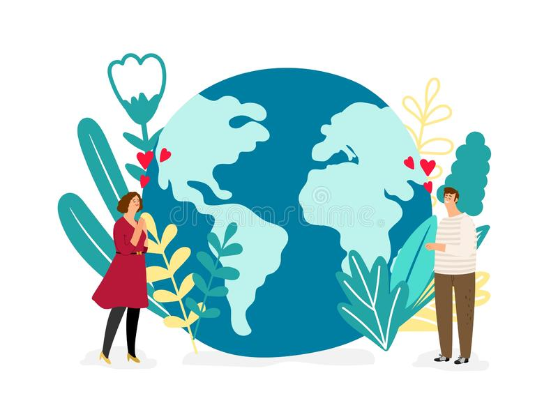 Save planet vector illustration. Environmental protection concept. People love planet. Save protection, eco planet world, environmental global vector illustration