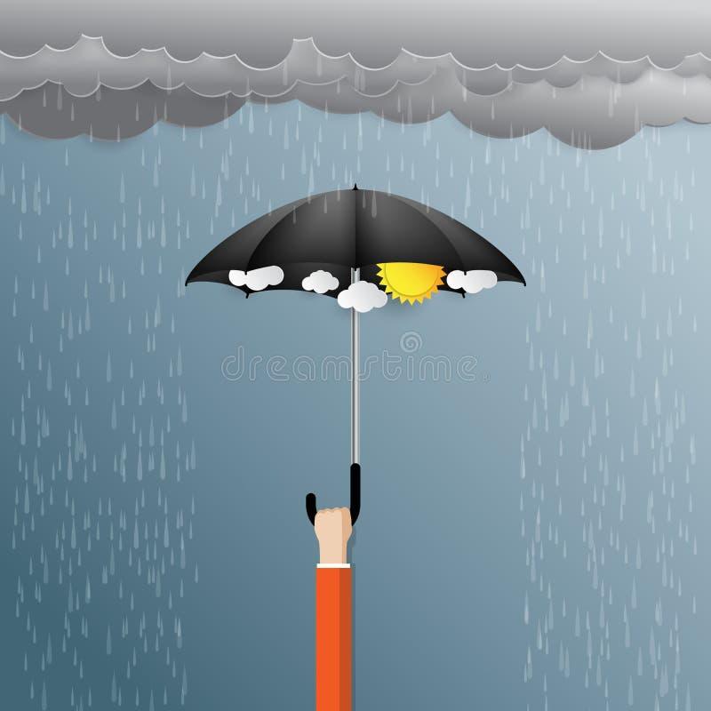 Save the raining day. royalty free illustration
