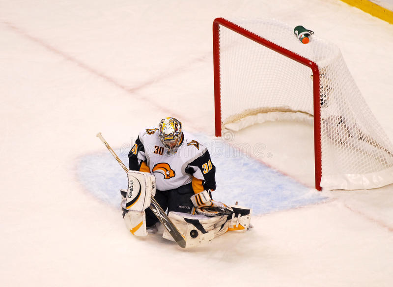 Save Ryan Miller. Buffalo Sabres goalie Ryan Miller makes a save against the Boston Bruins royalty free stock photography