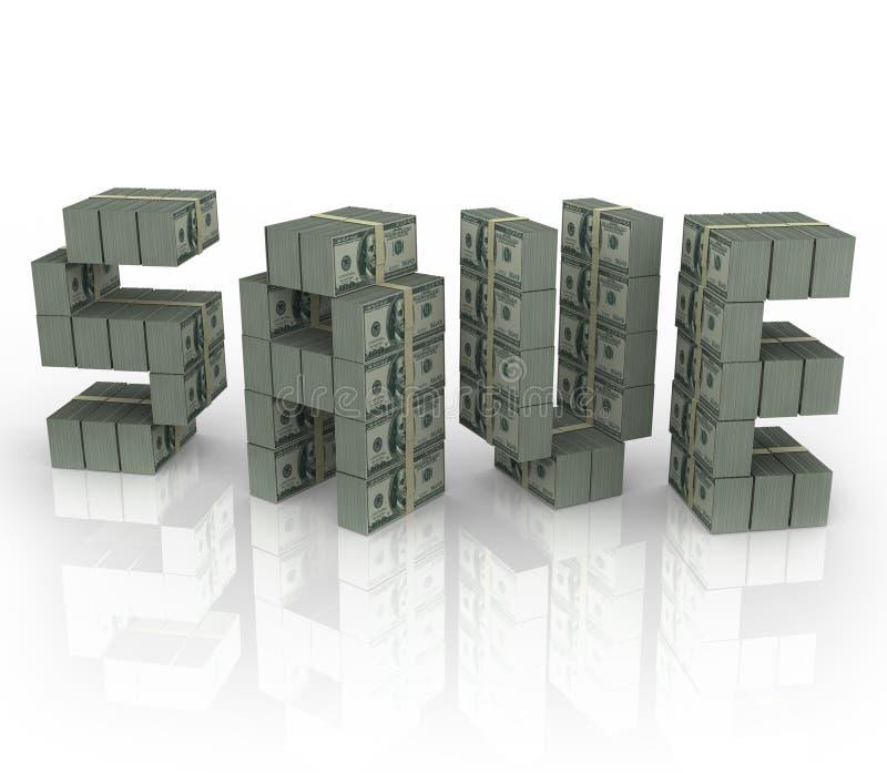 Save słowo pieniądze stert plików Savings sprzedaży rabata gotówkę ilustracji