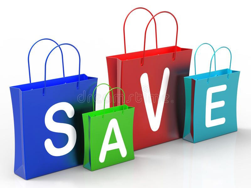 Save On Shopping Bags Shows Bargains. Save On Shopping Bags Showing Bargains And Promotion vector illustration
